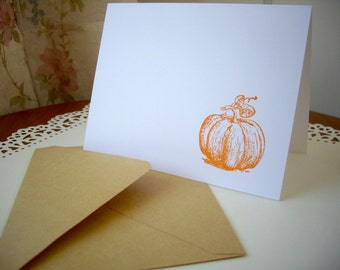 fall thank you cards, pumpkin cards, acorn cards, autumn cards, fall wedding cards, thanksgiving cards, 10 cards