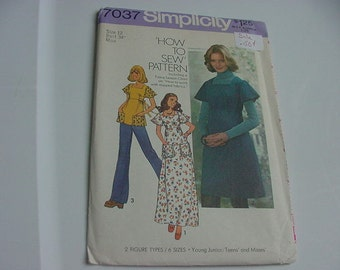 Vintage 1970s Simplicity Pattern 7037, Misses Jumper or Dress, 2 Lengths, or Top, Size 12, Bust 34, Uncut