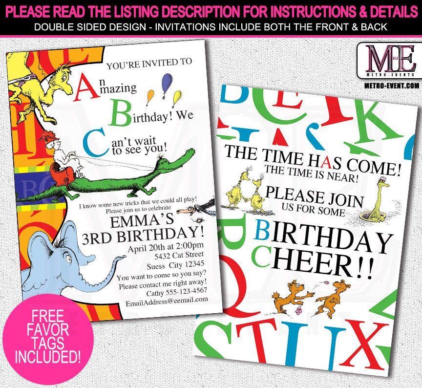 dr. seuss abc invitation dr. seuss invitation dr. seuss, Party invitations