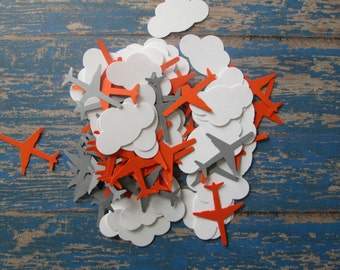 Cloud and Airplane Confetti - Clouds Airplanes, Theme Confetti, Clouds theme, Baby boy Showers, Baby shower confetti, orange Grey Airplanes