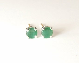 Emerald (4.3mm Opaque Genuine Emeralds), 0.66 Carat TCW, Round Cut, Sterling Silver Post Earrings