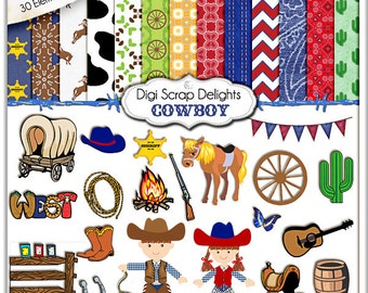 Cowboy Clip Art, Cowboy Digital Papers, Scrapbooking Kits with Cowgirl and Digital Western Clipart, Instant Download