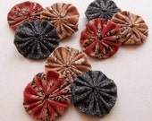 primitive inspired colorful small fabric yoyos//black, red-orange, and tan--mixed lot of 9--ready to ship