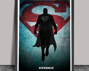 Superman Poster.Superheroes Minimalist .Superman Superhero print,Heroes Illustrations,Wall art,Christmas Gift,Comic  Gift, Home Decor.