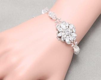 Vintage Star Flower Wedding Bracelet, Crystal Rhinestone Bracelet, Wedding Bridal Bracelet Jewelry, Bridesmaids Birthday Christmas Gift