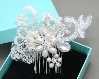 Wedding Headpiece, Bridal Headpiece, Floral, Lace headpiece, Crystal Headpiece, Bridal Hair comb, Pearl Headpiece, Lace Hair Accessory