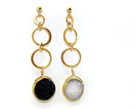 Eternity Sun and Moon Earrings. Day and Night Druzy Earrings. Eternity Circle Earrings. E-1530-1
