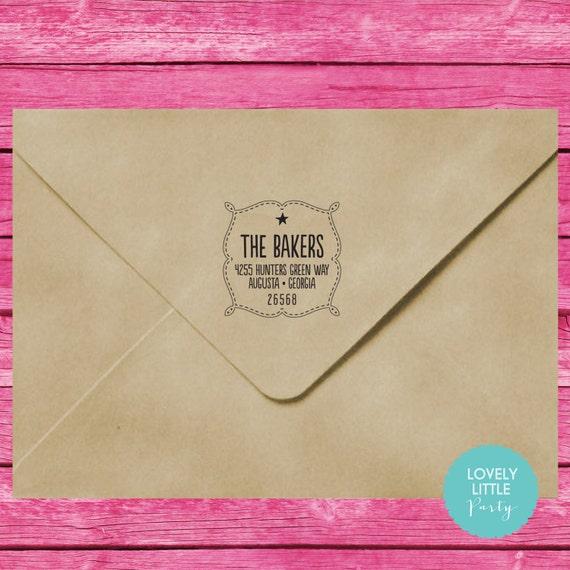 Modern custom self inking address stamp style 850 - Lovely Little Party