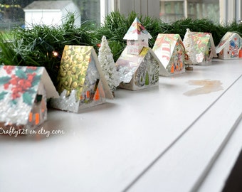 Create Your Own Putz Glitter House Village / Onaments that Light Up / Handmade from Vintage Christmas Cards / Bottle Brush Trees
