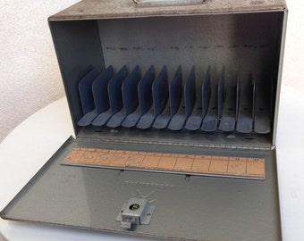 Vintage film reel storage metal box by Brumberger rustic old kitsch steel grey