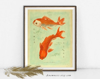 TWO GOLDFISH Print Digital Download - printable antique illustration for framing or transfer to totes, pillows, prints, cards, t-shirts