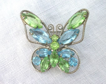 Vintage Butterfly Brooch ~Blue and Green Rhinestones ~ Insect ~ Winged Bug ~ Silver tone Metal
