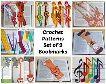 9 bookmarks set Amigurumi Crochet Patterns - 8 Pdf files by Zabelina Etsy