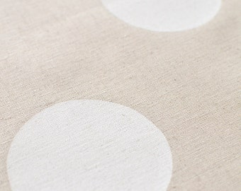 Many Moons in Alabaster : organic linen/organic cotton handprinted fabric panel