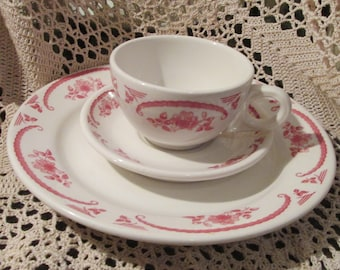 Vintage Homer Laughlin Chardon Rose Pattern Plate, Cup and Saucer