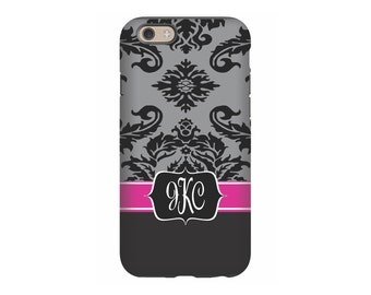 Personalized iPhone case, Black Pink Damask, Monogram iPhone 6 case, iPhone 7 Case, iPhone tough case