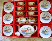 Vintage Toy China Tea Set, Miniature Tea Set in original box, Child's Duck and Bunny Tea Set, China Toy Tea Set, made in Japan