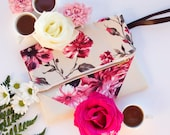 Wedding Clutch with Flowers, Pink and Beige with faux Leather Corners, Flower Bridesmaid Clutch, Bridesmaids Clutches, Zipper Pouch →ALICE←