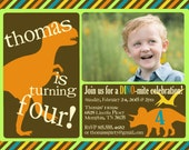 Dinosaur Birthday Party Invitation -- Dinosaur Invite -- custom, digital, printable -- Boy Birthday Party Invitations