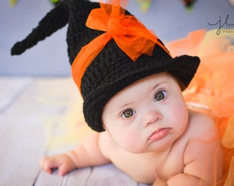 Baby Witch Hat Crochet  with shoes booties baby boy baby girl photography prop Halloween costume outfit
