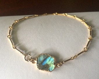 Freeform Flash Labradorite Slice Gold Connector Bracelet