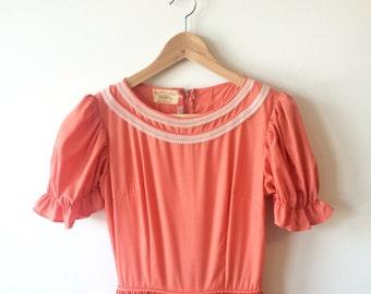 50s Orange Cream White Lace Full 360 Skirt Dress Puff Sleeves Womens XS - Small