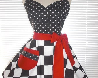 Sweetheart Retro Diner Apron White Dots On Black Red Accents Bold Dramatic Extra Wide Checkerd Circular Flirty Skirt