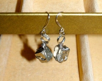 Gold Pyrite Wire Wrapped Cube Earrings Sterling Silver Posts - Fool's Gold