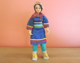 Rare Asian Soft Plastic Doll in Tribal Costume