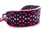 Pink Geometric Diamond Hand Woven Friendship Bracelet Wrist Wrap - Great Lightweight Braided Gift for Best Friends and Teenagers