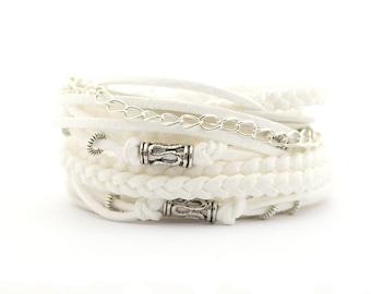 White Silver Wrap Bracelet, Bohemian Wedding Bracelet, Boho Gypsy Bracelet, Hippie Jewelry, gift for mam, boho chic