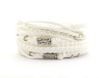 Summer Bracelet, White Wrap Bracelet, White Silver Bracelet, Boho bracelet, Gypsy Bracelet, suede, double wrap, boho chic