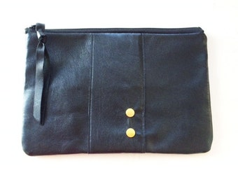 Recycled Leather Zipper Clutch, OOAK , Upholstery Remnant, Lined, Stud Details, Pouch, Cosmetic Bag,
