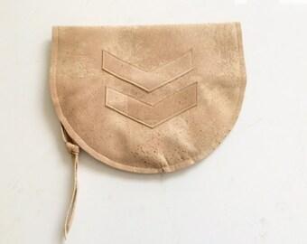 Cork Leather Fold-Over Clutch, purse, tab, beige, cork skin, Vegan, eco-style, half moon fold-over, chevron applique