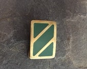 Vintage Mens Belt Buckle Solid Brass Enamel Inlay 1970s/1980s Mod Abstract Accessory