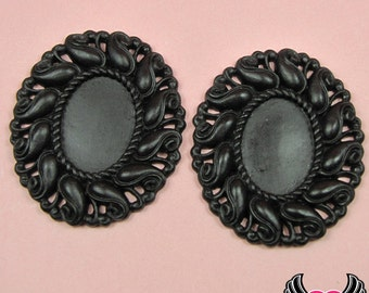 24x17mm Oval Cameo Cameo Settings, Black Resin Cameo Setting Bezel (3 Pieces)