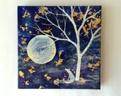 "4""x4"" Painting - Mixed Media - Tree and Fox Painting - Moon and White Tree"