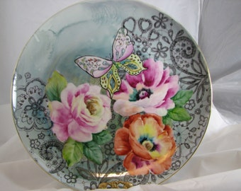 Poppies, Roses, Butterfly and Lace on a Plate