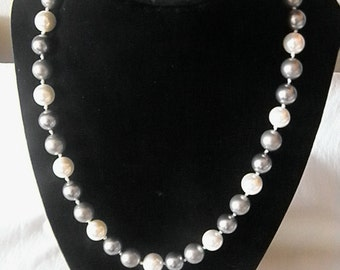Silver Grey And White South Sea Shell Pearl Single Strand Necklace
