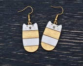 Gold Cat Earrings, Wooden Earrings, Cat Long Earrings, Dangle Earrings, Gold Valentine's Day Gift, Girlfriend Gift, Cat Lover Gift