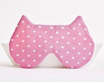 Sleep Mask Cat travel eye mask kitty sleep mask Pink polka dot Mask Cute Cat Mask Bachelorette Party Favors Honeymoon Gift