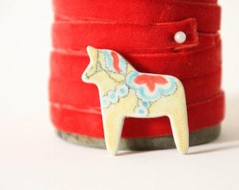 tiny dala horse magnet - modern scandinavian folk art, hand painted porcelain Dala Horse with rare earth magnet