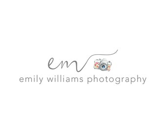 Photography Logo and Watermark, Initials Handwritten Calligraphy Script Font Camera Logo Design 201