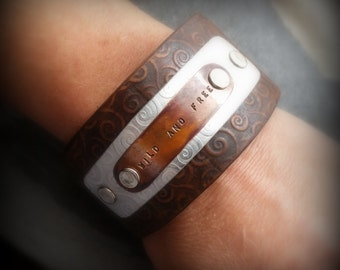 Wild and Free, embossed leather cuff, stamped copper by RECREATE4U