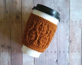 Cabled Coffee Cup Sleeve - Rust Orange - Ready to ship - fall accessories - Gift Idea - Christmas Gift - Women's accessories - Tea Cup Cozy