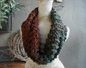 Hand Knit Cowl, Scarf, Brown, Teal & Rust, Chunky Cowl