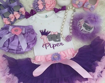 Elephant Birthday outfit- include personalised Top, matching headband and fluffy purple skirt