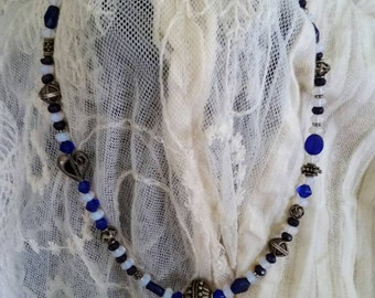 Sapphire,  Moonstone,  Silver and Czech Crystals Necklace