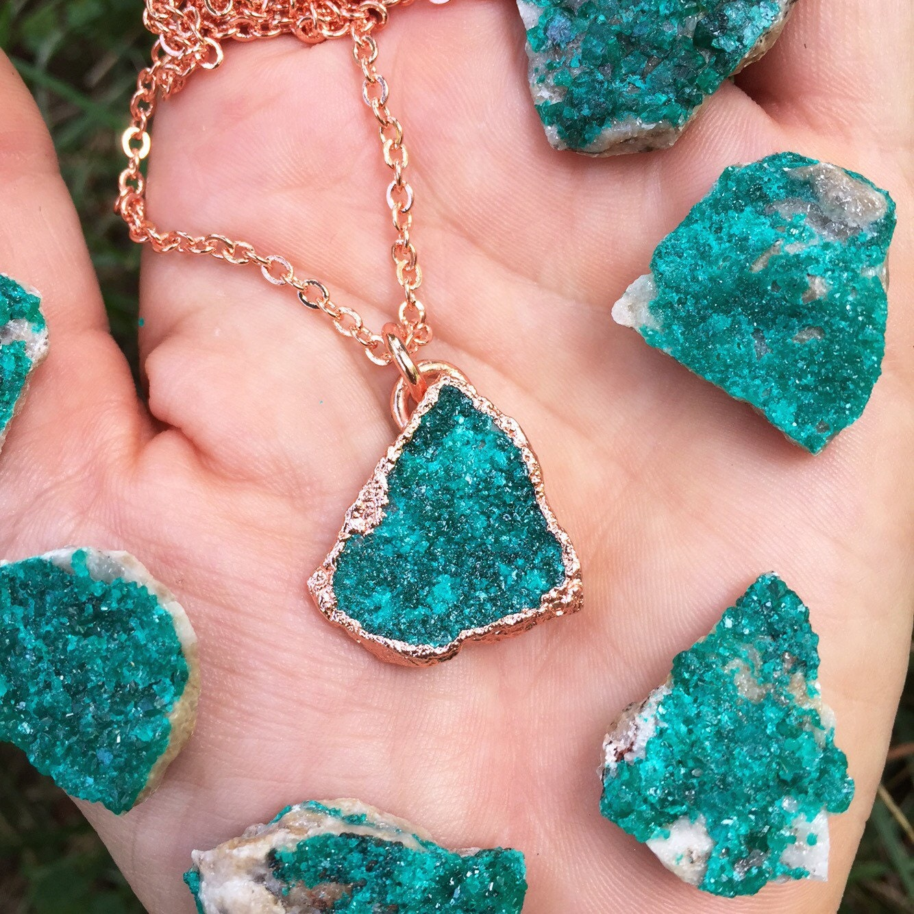 dioptase electroformed pure copper any length chain