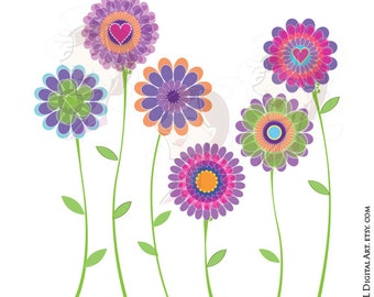 Spring Flowers Clipart Digital Clip Art Purple Floral Graphics Scrapbook Supplies VECTOR Png Jpg Files Commercial Use 10043
